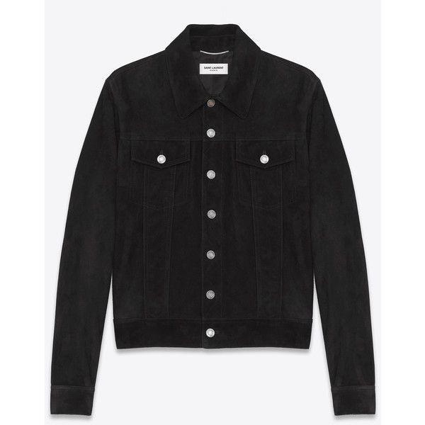 7fa01aff44 Saint Laurent Black Suede Jean Jacket (€3.290) ❤ liked on Polyvore ...