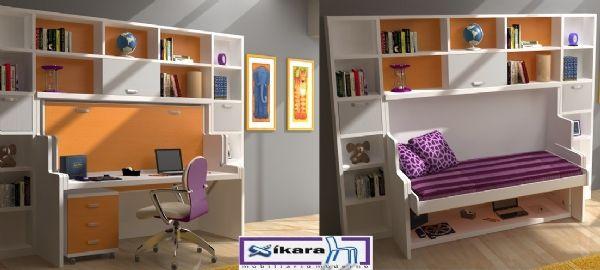 Habitacion juvenil con cama abatible con escritorio 32 - Habitacion cama abatible ...