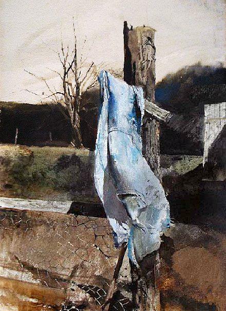 Andrew Wyeth (1917 — 2009, USA) Warm day. watercolor.  © Andrew Wyeth www.andrewwyeth.com