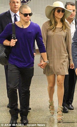 J-Lo and Casper arrive in Sao Paulo, Brazil