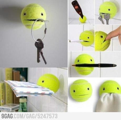 Use your old tennis ball to hold stuff! How cute!!!