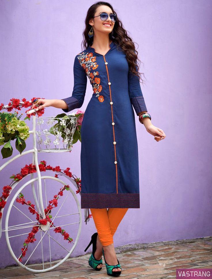 Blue & Orange Satin Cotton Embroidered Kurti
