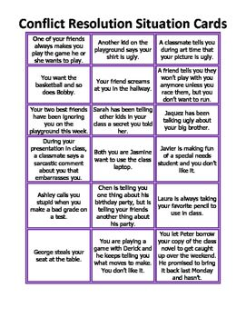 Free! Conflict Resolution Situation Cards
