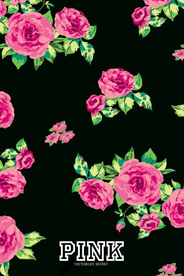 Pink victoria 39 s secret iphone wallpaper interchangeable - Pink rose black background wallpaper ...