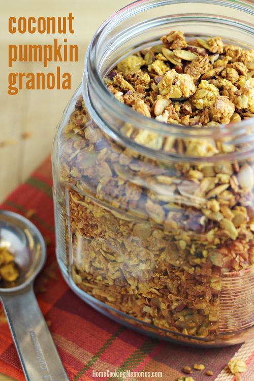 Coconut Pumpkin Granola Ingredients 1 cup pumpkin puree 1/2 cup honey 1/2 cup melted coconut oil 1 tablespoon vanilla extract 2 teaspoons pumpkin pie spice 1/2 teaspoon salt 5 cups old-fashioned oats 2 cups pepitas 2 cups shredded coconut 3/4 cup chopped pecans