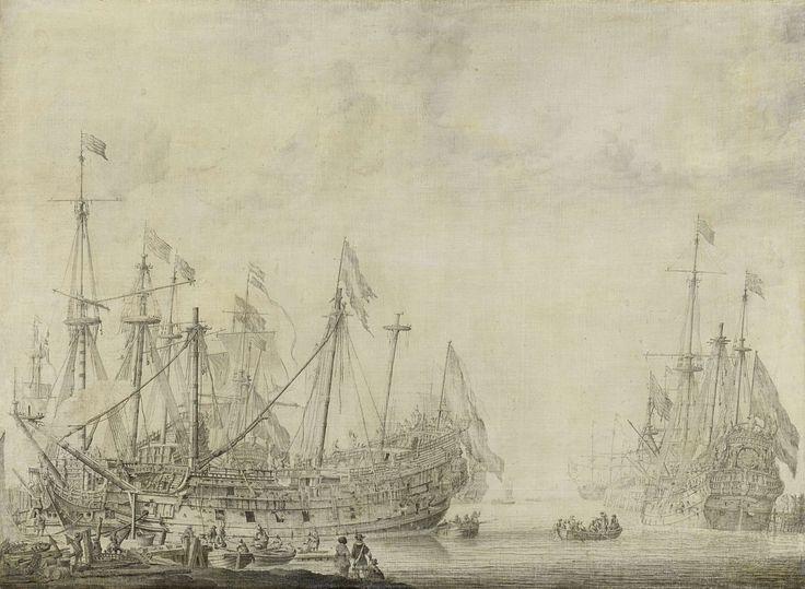 Willem van de Velde (I) | Ships after the Battle, Willem van de Velde (I), 1630 - 1672 | Schepen na de slag. Gehavende Nederlandse oorlogsschepen en een buitgemaakt Engels schip worden in een haven gekalefaterd. Links de Brederode, zonder galjoen, rechts de Amalia.