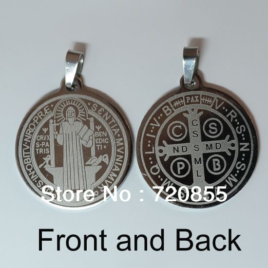 FREE SHIPPING,Catholic Patron Saint Benedict Holy Medal Pendant Jewelry,Benedictine badge,VRSNSMV,SMQLIVB,With waxed rope gifts