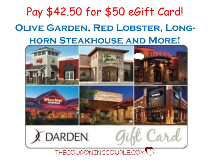You aren't going to want to miss this! Perfect for a gift or even a night out! Get a $50 Darden eGift Card for only $42.50! Red Lobster, Olive Garden, Longhorn Steakhouse, much more!  Click the link below to get all of the details ► http://www.thecouponingcouple.com/50-darden-egift-card-for-40-olive-garden-red-lobster-longhorn-steakhouse-more/  #Coupons #Couponing #CouponCommunity  Visit us at http://www.thecouponingcouple.com for more great posts!