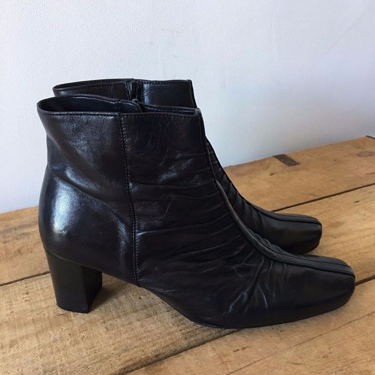 UK SIZE 6.5 WOMENS GABOR BLACK LEATHER RUCHED DETAIL ANKLE BOOTS #Gabor #AnkleBoots #SmartCasual