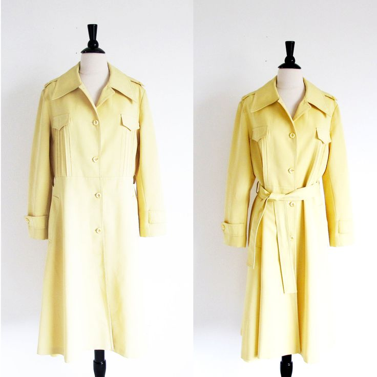 Vintage Yellow Raincoat 70s All Weather Coat Yellow Trench Coat Vintage Outer Wear (74.00 USD) by StraylightVintage