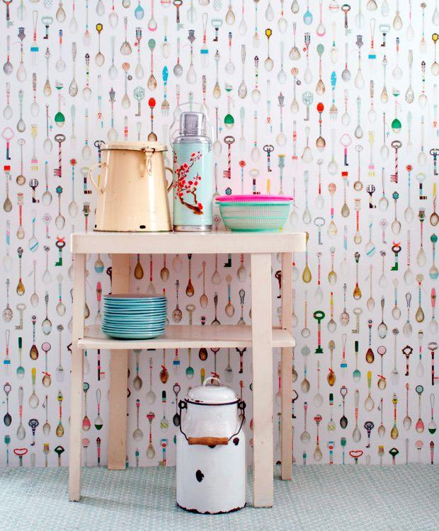 papel de parede colheres #decoracao #parede #cozinha