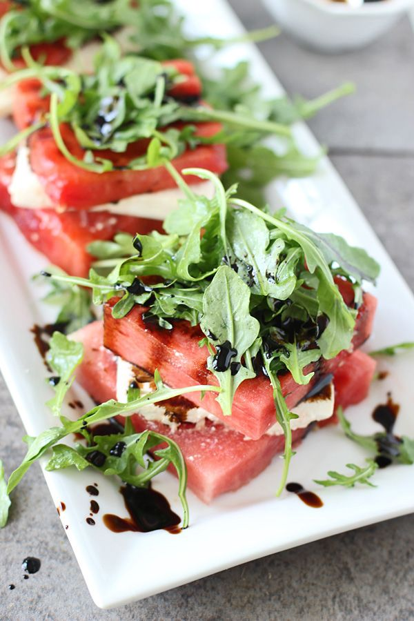 Grilled Watermelon Feta Stacked Salad