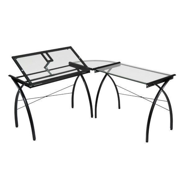 Studio Designs Futura LS Work Center Drafting Table Color: Black And Clear  Glass