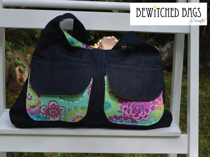 Handmade Unique Bag with Bright Pockets on the Front - Kaffe Fassett Asian Circles - Flowers & Plants Fabrics - Handmade Bag Fabrics