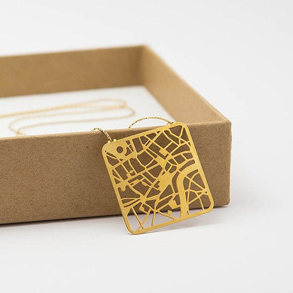 London Map Necklace Street Map of London Pendant in by TaliaSari