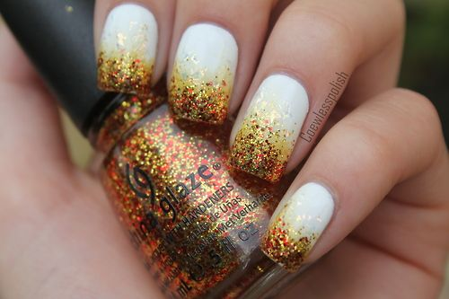 Sparkle gradient on white. Awesome!!Autumn Nails, Nails Art, Catching Fire, Fall Nails, China Glaze, Glitter Nails, Nails Ideas, Nails Polish, Thanksgiving Nails