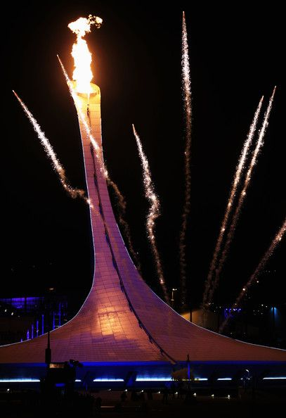 The Olympic flame is lit during the Opening Ceremony of the Sochi 2014 Winter Olympics at Fisht Olympic Stadium on February 7, 2014 in Sochi...