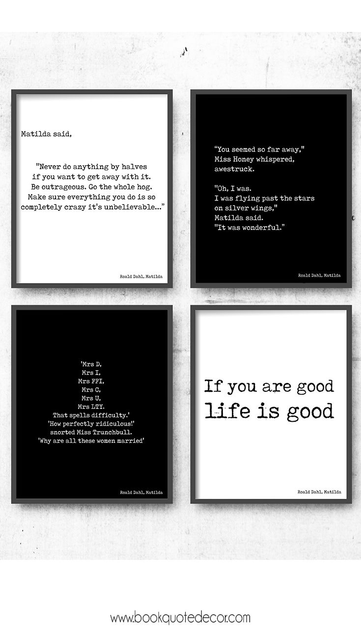 806 best book quote decor images on pinterest wall decor set of 4 wall prints roald dahl matilda quotes click through now to see amipublicfo Gallery