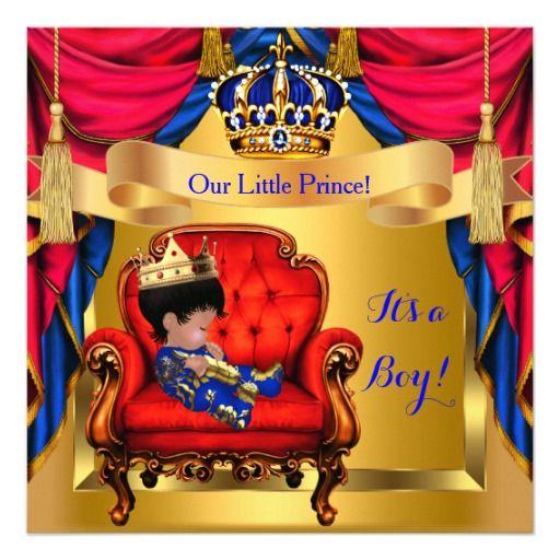Elegant Baby Shower Boy Prince Royal Blue Red Gold Card