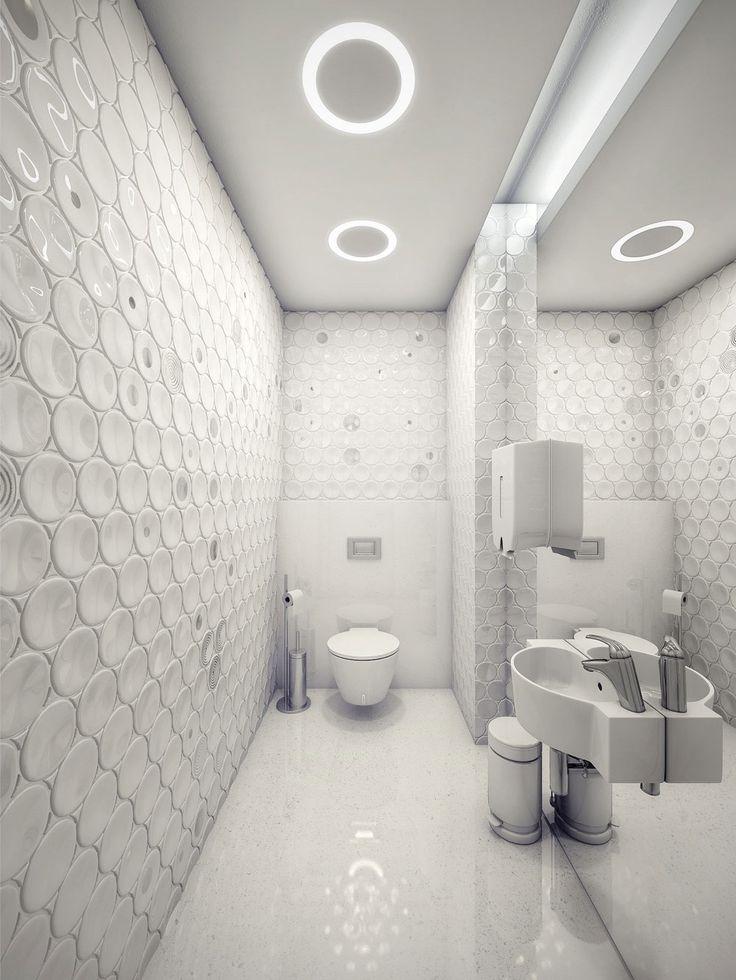 Extra modern white surgery clinic bathroom interior with futuristic ceiling light ideas - Futuristic bathroom ideas ...