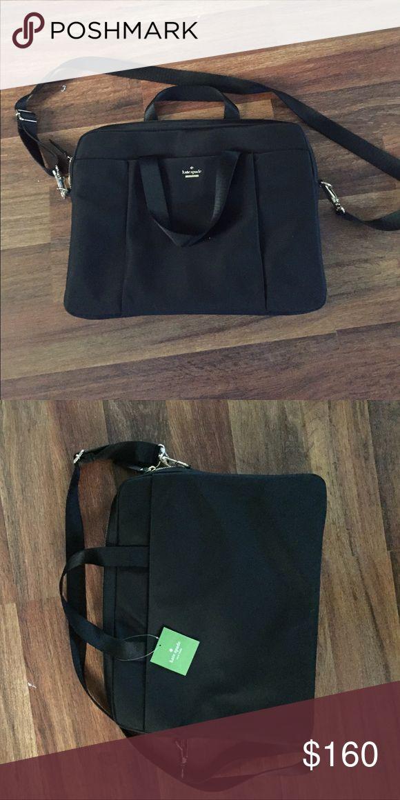 Black Kate Spade briefcase laptop bag Black nylon and cow leather briefcase laptop bag. Never used. Tags still on. kate spade Bags Laptop Bags