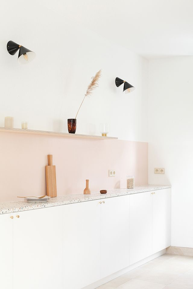 Kitchen design in white and soft pink