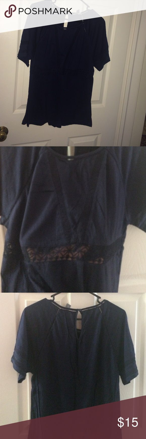 Old Navy Short Sleeve Top with lace details New top, only wore once. Navy blue with lace inset details on front & sleeves, keyhole back. Perfect for spring/summer with white bottoms. Old Navy Tops Tees - Short Sleeve
