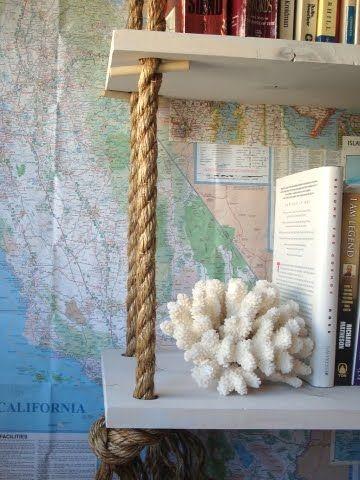 DIY rope shelf ideas: http://www.completely-coastal.com/2013/02/diy-hanging-rope-shelf-ideas-nautical.html