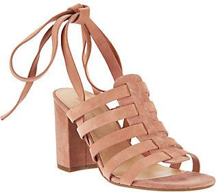 Marc Fisher Suede Ankle Wrap Sandals - Pheobe