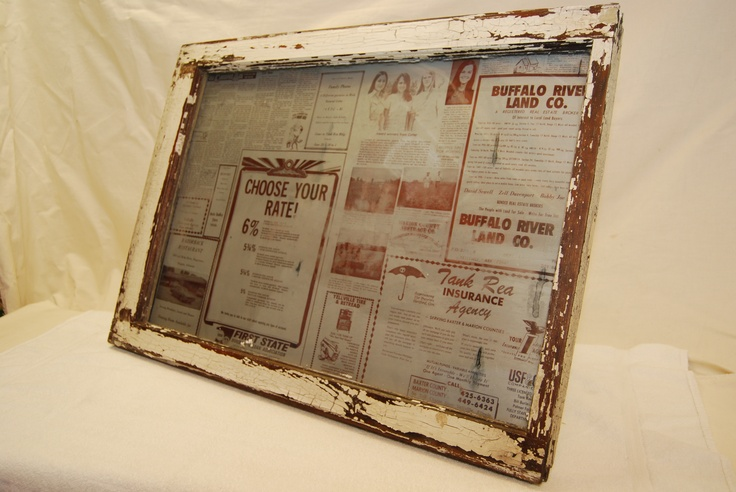 Wall Hanger - Old Single Pane with aluminum copy of the Marion County News 1972 behind the pane.