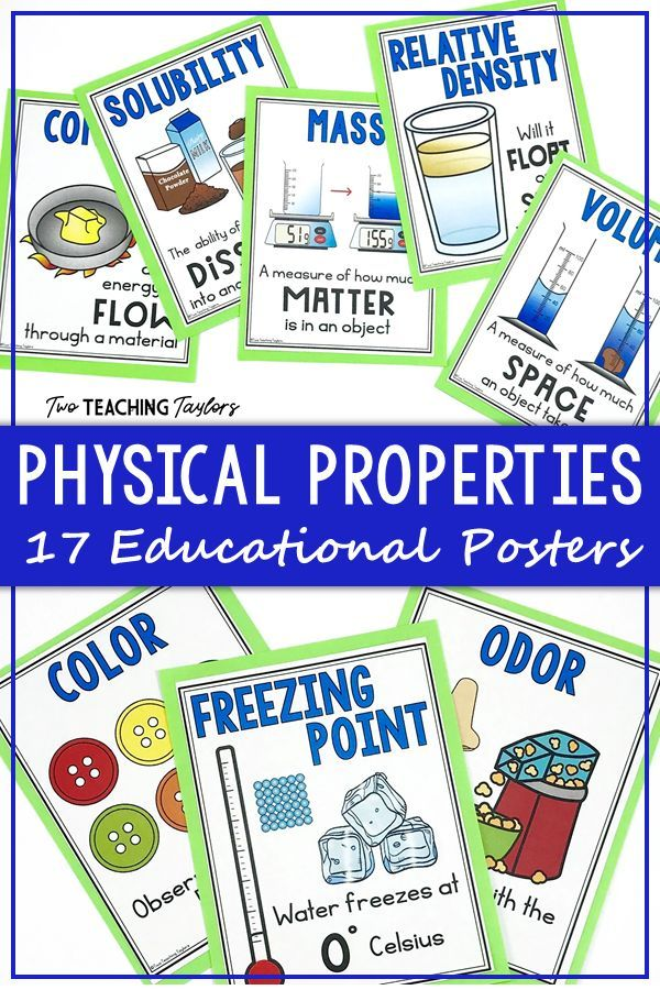 Physical Properties Of Matter Anchor Posters Physical Properties
