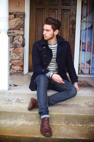 Men's Navy Pea Coat, White and Black Horizontal Striped Crew-neck Sweater, Blue Long Sleeve Shirt, Navy Jeans