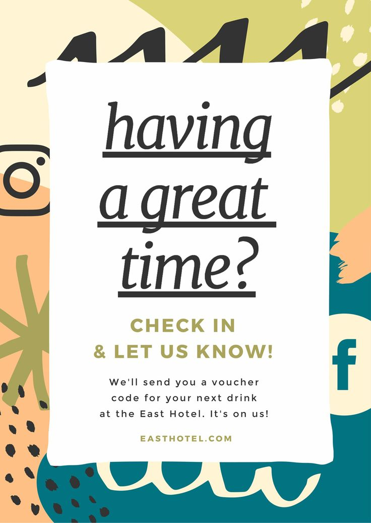 Poster encouraging Checkins at a Venue - How to Get More Event Bookings at your Venue in 2018 - 21 Easy Tips