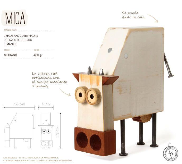 Vaca de madera de nombre MICA