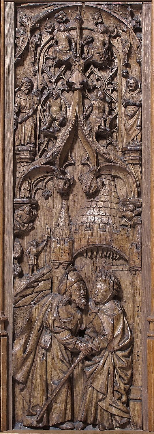 Panel with Joachim and Anna at the Golden Gate; oak, Normandy, France, circa early 16th century