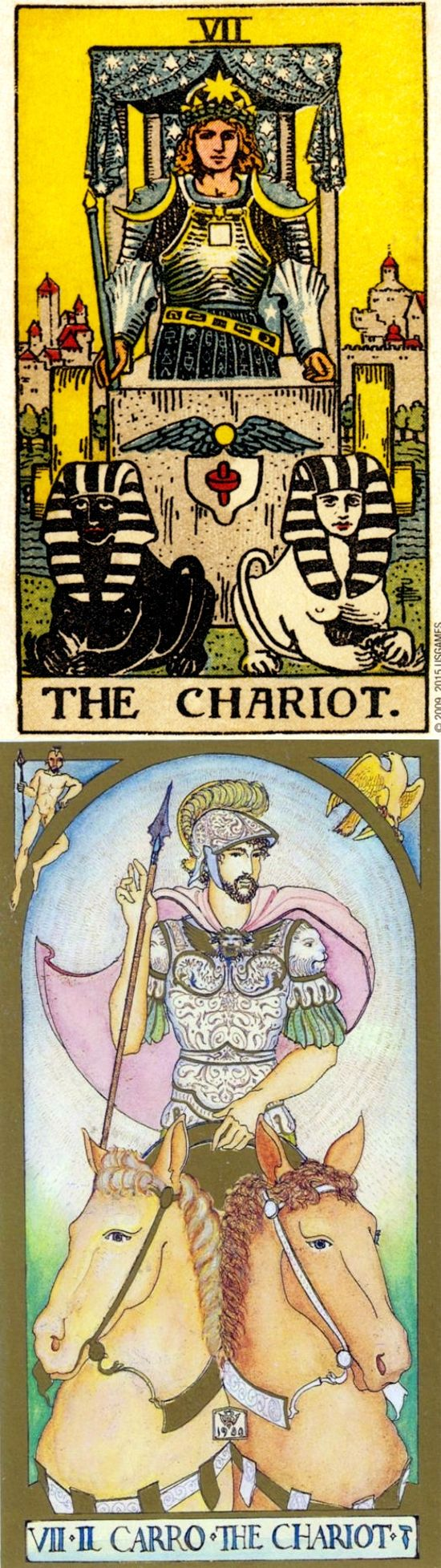 THE CHARIOT: willpower leading to victory and lack of direction (reverse). Rider Centenial Tarot deck and Renaissance Tarot deck: free tarot card reading online accurate, tarot card reading in hindi and klimttarot. Best 2017 playing cards and gothic decor.