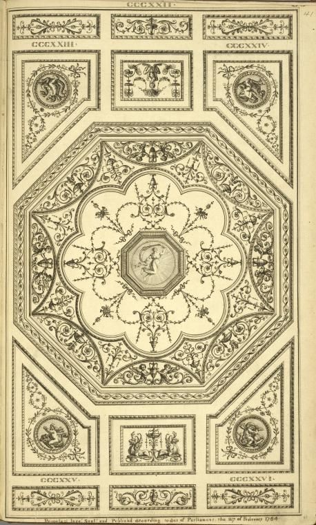 Central octagonal design with leaves and urns; center design of woman with drape.