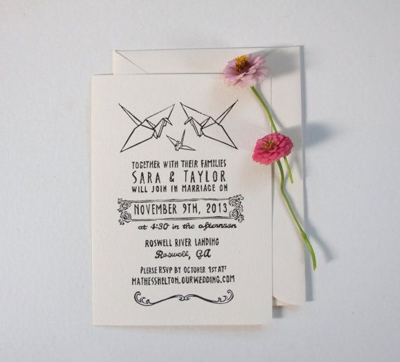 Origami Crane Wedding Invitation Stamp by nativebear on Etsy