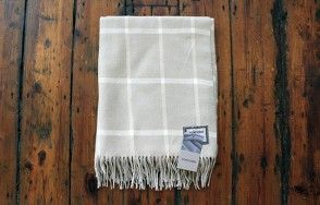 Foxford taupe and cream large check blanket www.waringsathome.co.uk