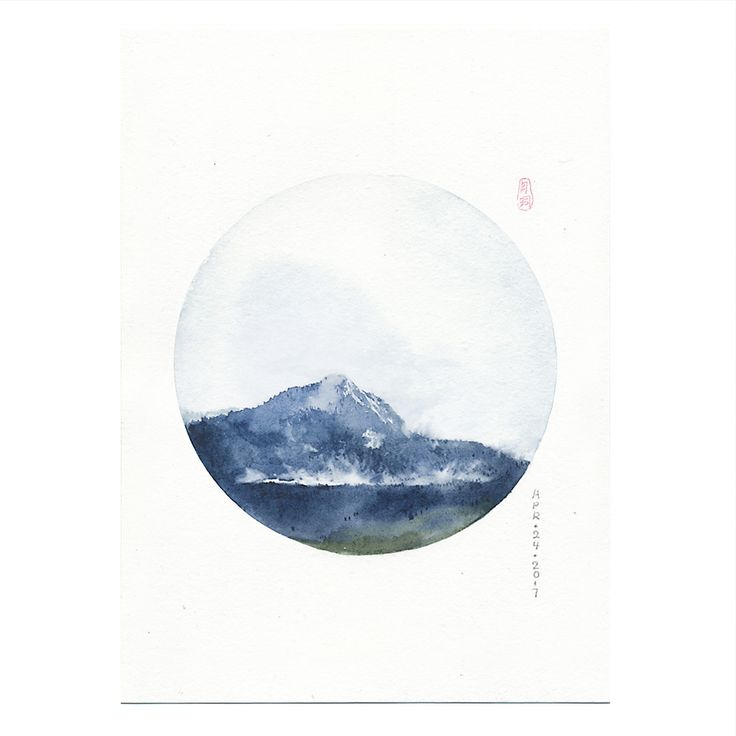 APRIL 24 Chilliwack watercolor landscape painting, watercolor painting, circle art, mountain art, iceberg painting, watercolor wall art Canadian landscape painting,Travel Canada