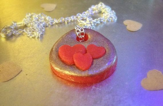 Red & Silver Love Hearts Pendant on Sterling by CuteasaButton76