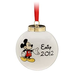 Disney Porcelain Mickey Mouse Ornament - Personalizable | Disney StorePorcelain Mickey Mouse Ornament - Personalizable - Every Disney fan needs our Personalizable Porcelain Mickey Ornament in their holiday collection. Option to add your favorite someone's name written in the unmistakable Disney script font makes our ornament even more special.