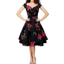 Novas Mulheres de Verão Floral de Impressão 50 s Retro Rockabilly Partido Pinup Hepburn Do Vintage Vestido Ocasional Vestidos LadiesSwing Vestido Elegante(China (Mainland))