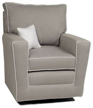 Pebble Grey Monaco II Glider With White Piping contemporary rocking chairs and gliders