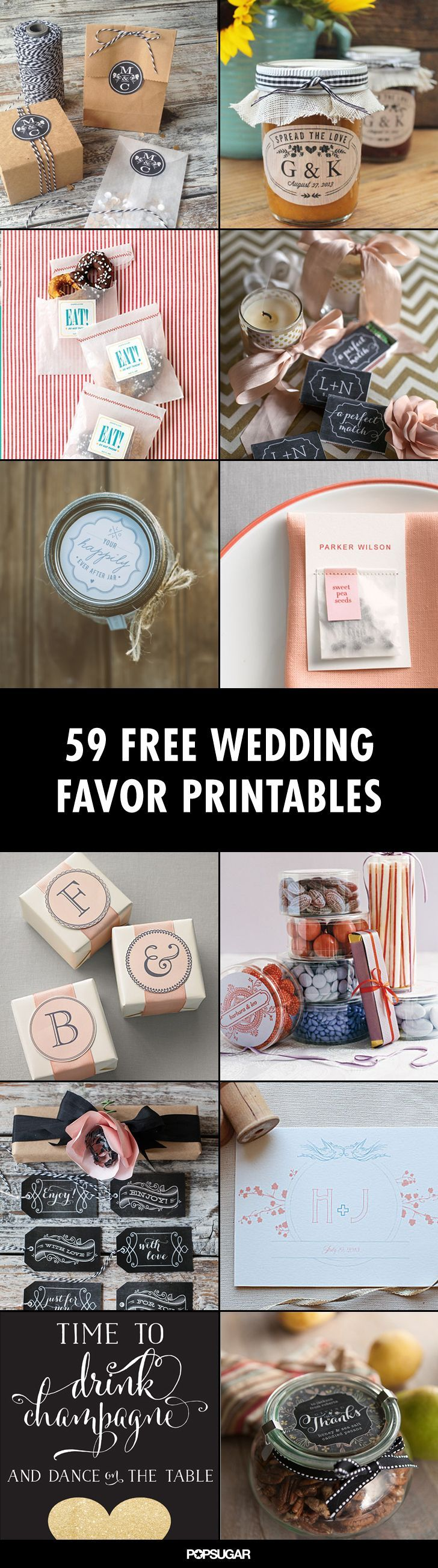 Give your DIY wedding favors a finishing touch with these beautiful wedding favor printables!