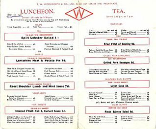 The Woolworths Menu from 1941 (with sincere thanks to Mrs Sybil Preece). Several prices have risen over the pre-war sixpenny limit as a result of shortages and wartime price inflation.
