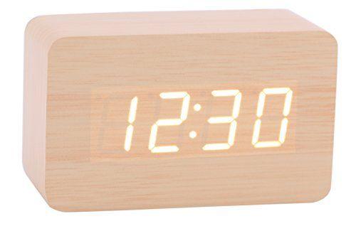 Konigswerk New Wooden Series Modern Mini Rectangle Wood Grain Calendar Thermometer Activated Desk Super Soft Night Light LED Digital Alarm Clock (Bamboo-White) AC025G Konigswerk