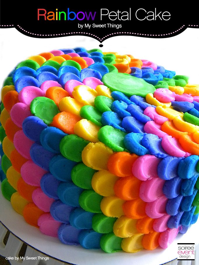 Rainbow Cake with Petal Buttercream Frosting