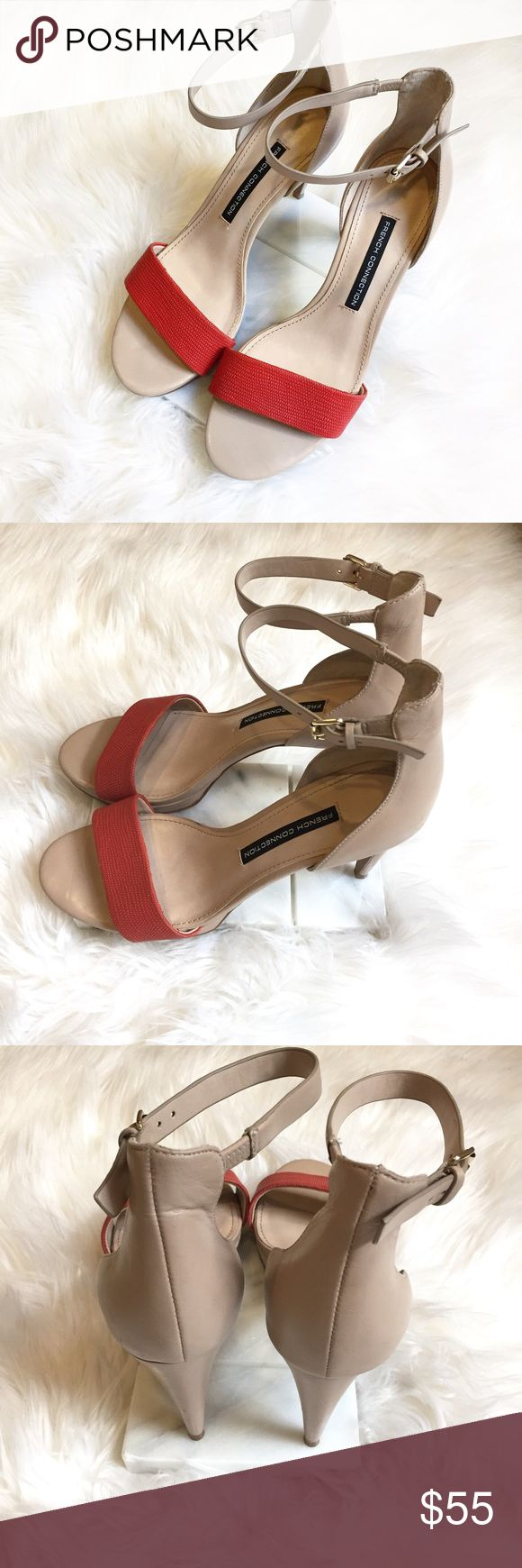 """French Connection 'Nata' Ankle Strap Heels French Connection 'Nata' Ankle Strap Heels! Women's size 7.5. Nude with coral accent color. In excellent condition with only minor signs of wear! Embossed leather upper. Open toe.   Size: 7.5 Heel height: 3.75"""" Platform height: 0.5"""" *Feels like 3.25"""" heel*  🔸10% off bundles of 2 or more items 🔸No Trades 🔸Reasonable offers accepted 🔸Fast Shipping  Please comment with any questions! French Connection Shoes Heels"""