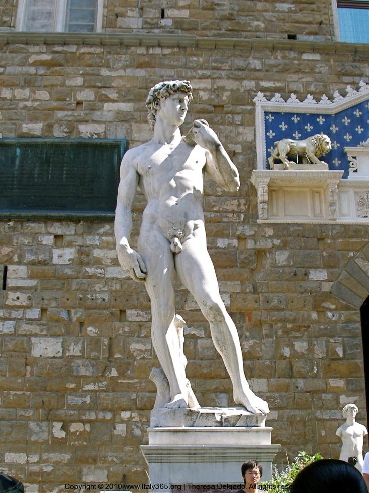 Statue of David in Piazza della Signoria | Florence Italy. A replica